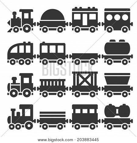 Cartoon Style Toy Railroad Train Set. Vector illustration