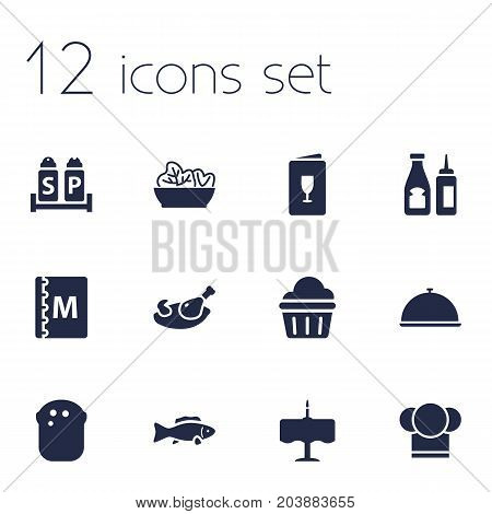 Collection Of Condiments, Tray, Catsup And Other Elements.  Set Of 12 Restaurant Icons Set.