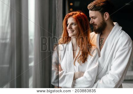 Beautiful couple enhoying wellness weekend in a luxurious resort