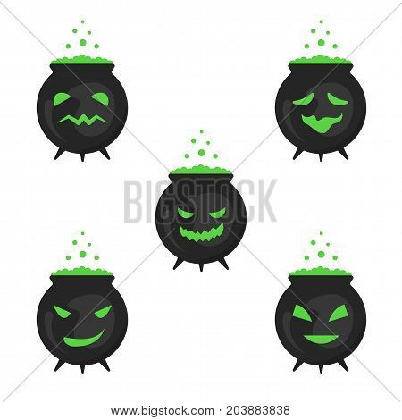 A set of boiling boilers for Halloween. Vector illustration in a flat style.