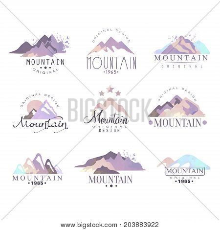 Mountain original logo design since 1965 year watercolor vector Illustrations set on a white background