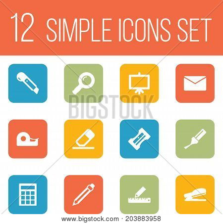 Collection Of Zoom Glasses, Mail, Rubber And Other Elements.  Set Of 12 Instruments Icons Set.