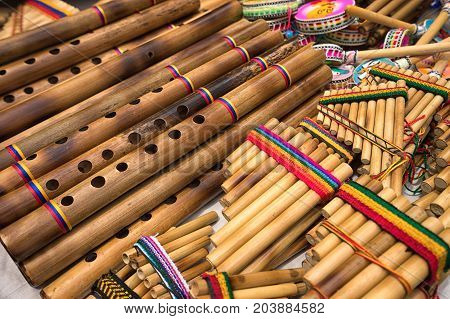 pan flute closeup in the indigenous artisan market in Otavalo Ecuador