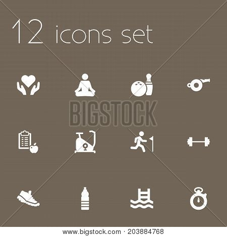 Collection Of Timer, Training Bicycle, Running And Other Elements.  Set Of 12 Bodybuilding Icons Set.