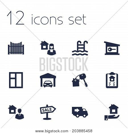 Collection Of Broker, Real Estate Agent, House Keys And Other Elements.  Set Of 12 Real Icons Set.