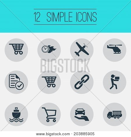 Elements Auto Insurance, Shopping Trolley, Report And Other Synonyms Liner, Related And Courier.  Vector Illustration Set Of Simple Logistics Icons.