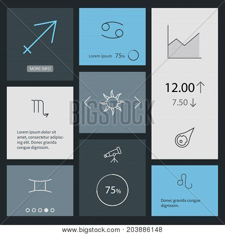 Collection Of Gemini, Scorpion, Leo And Other Elements.  Set Of 8 Astronomy Outline Icons Set.