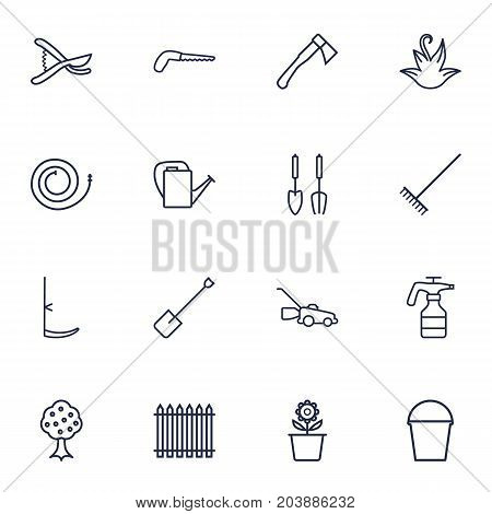 Collection Of Instruments, Bailer, Palisade And Other Elements.  Set Of 16 Horticulture Outline Icons Set.
