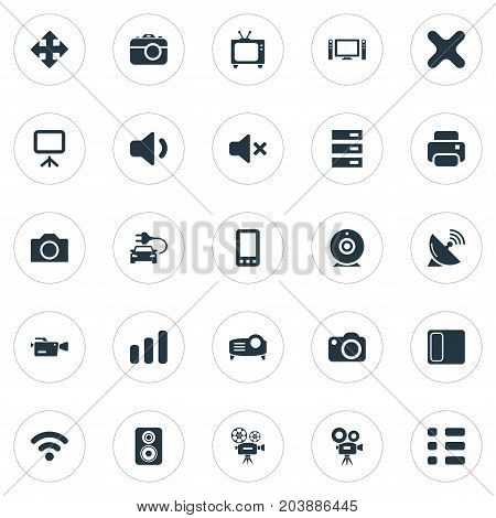 Elements Volume, Broadcasting, Projector And Other Synonyms Speaker, Delete And Cinematography.  Vector Illustration Set Of Simple Hardware Icons.