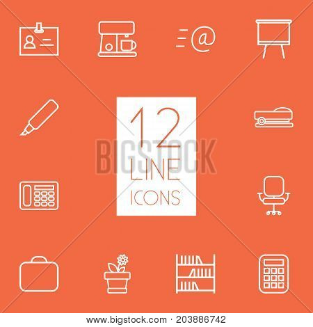 Collection Of Telephone, Badge Id, Marker And Other Elements.  Set Of 12 Bureau Outline Icons Set.