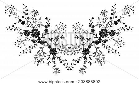 Black floral embroidery ornament. Fashion clothes decoration patch stitch texture embroidered field flower leaves. White background vector reflection symmetric illustration art