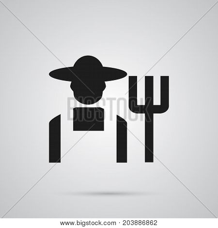 Vector Grower Element In Trendy Style.  Isolated Farmer Icon Symbol On Clean Background.