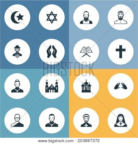 Elements Pater, Mohammedanism, David Star And Other Synonyms Synagogue, Chaplain And Taoist.  Vector Illustration Set Of Simple Faith Icons.