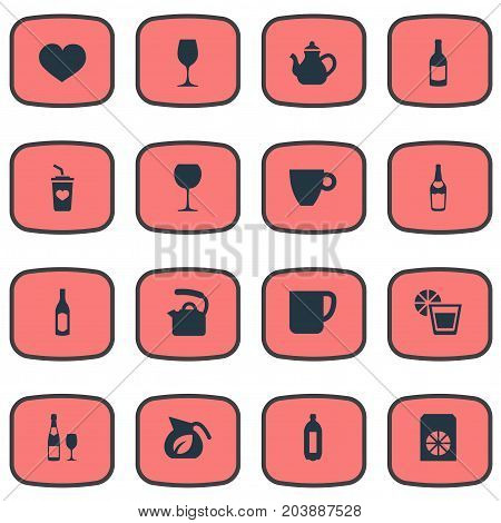 Elements Tumbler, Orange, Mug And Other Synonyms Carbonated, Juice And Soft.  Vector Illustration Set Of Simple Drinks Icons.
