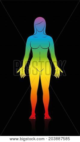 Female body - rainbow colored silhouette of a woman in meditating upright standing yoga position on black background.