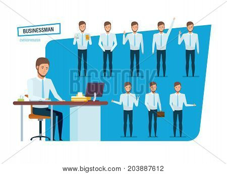 Set of young businessman character person, clerk in strict work clothes, in various poses and positions, gestures, with accessories, at work desk office. Vector illustration in cartoon style