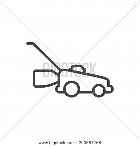 Vector Grass-Cutter Element In Trendy Style.  Isolated Lawnmower Outline Symbol On Clean Background.