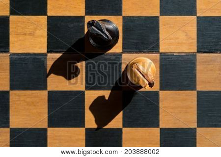 top view Chess Knights stand on chessboard with shadows