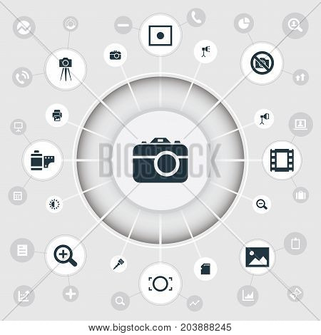 Elements Magnifying, Photograph, Inkjet And Other Synonyms Copier, Removal And Camera.  Vector Illustration Set Of Simple Photography Icons.