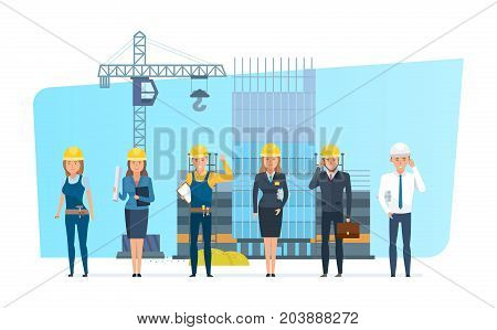 Construction engineers workers team. Engineers character person set with construction team, builder, architect, repairman and director, on background process of building house. Illustration isolated.