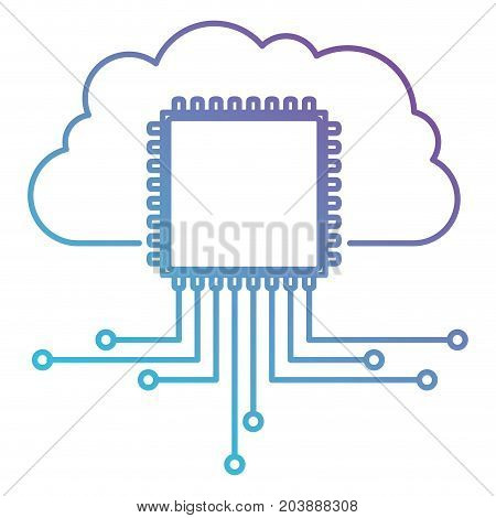 cloud storage data and cpu microprocessor icon in color gradient silhouette from purple to blue vector illustration