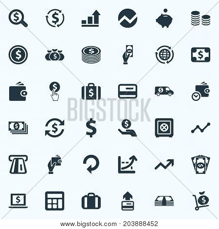 Elements Interest, Exchange, Finance And Other Synonyms Atm, Trade And Laptop.  Vector Illustration Set Of Simple Banking Icons.