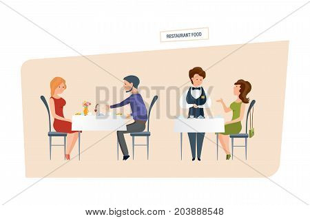 Restaurant food concept in two scenes. People character person. Couple drink wine, eat and spend evening together. Girl makes an order with the waiter. Vector illustration isolated in cartoon style.