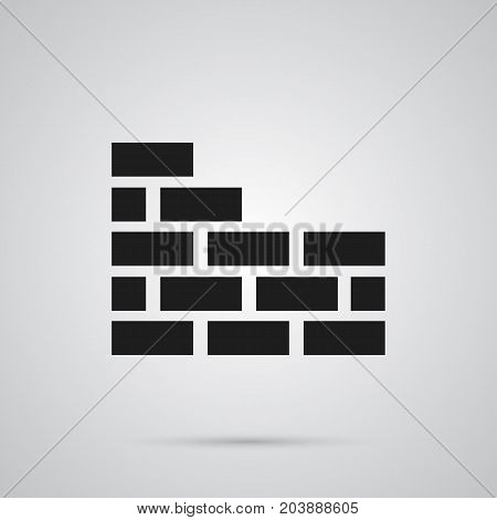 Vector Brick Wall Element In Trendy Style.  Isolated Brickwork Icon Symbol On Clean Background.