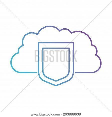 cloud storage data protection shield icon in color gradient silhouette from purple to blue vector illustration