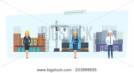 Construction urban development concept. Urban infrastructure. Engineers character person cartoon set with construction workers team on background buildings. Vector illustration isolated.