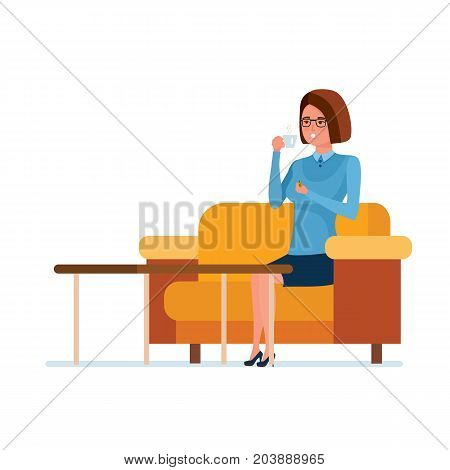 Teaching and education. Teacher character person, while in teacher's office at lunchtime, drinks tea with sweets, sitting on couch. Teaching on lesson in classroom. Illustration in cartoon style.