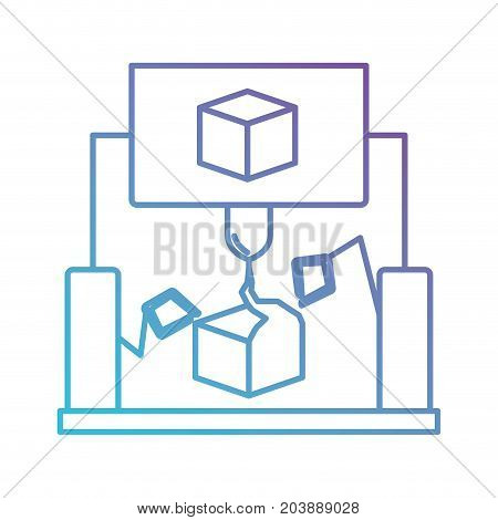 cube design with robotic hands in color gradient silhouette from purple to blue vector illustration