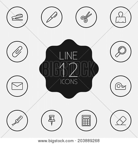Collection Of Mail, Eraser, Zoom Glasses And Other Elements.  Set Of 12 Instruments Outline Icons Set.