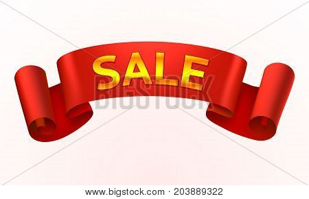 Tape red text sale on the white background . Vector illustration