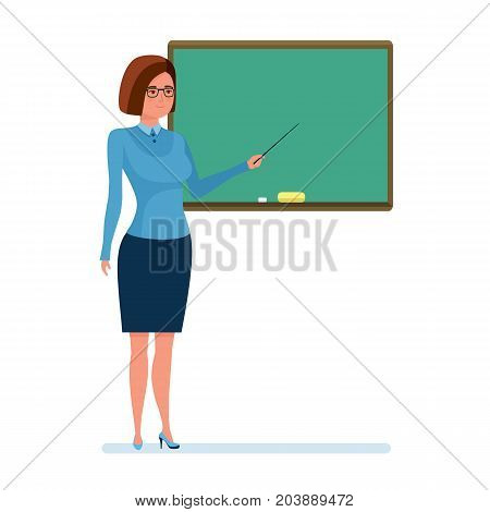 Teaching and education. Teacher with school pointer in hand, explain material in sphere education, chalkboard, school board, lesson in class. Teaching in classroom. Illustration in cartoon style.