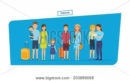 People traveling. Traveling people characters person, journey, hiking with kids, joint pictures, family trip, journey together, with baggage. Vector illustration