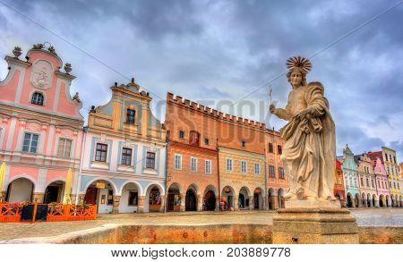 Statue of Saint Margaret on the main square of Telc, Czech Republic