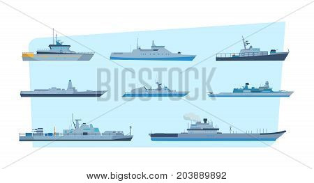 Set of ships in a modern flat style: ships, boats, ferries, with a blue sea background. The concept of maritime transport. Shipping boats. Military and cargo ships. Vector illustration isolated.
