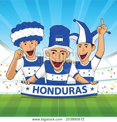 honduras Flag. Cheer football support Vector illustration.