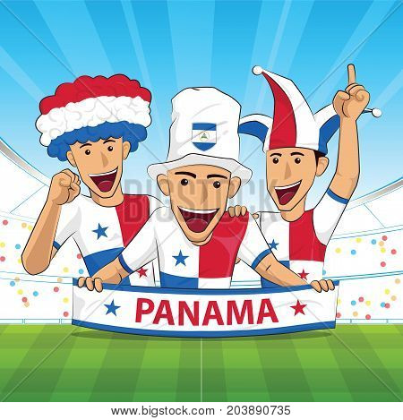 panama Flag. Cheer football support Vector illustration.