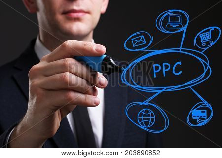 Business, Technology, Internet And Network Concept. Young Business Man Writing Word: Ppc