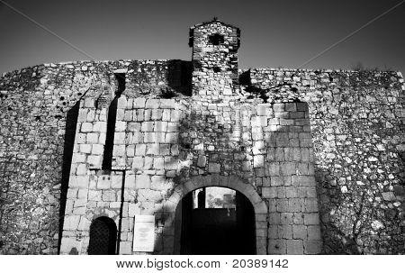 Entrance to the Fort de L'Ile Sainte-Marguerite, Cannes, France - contrasty black and white