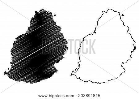 Mauritius Island map vector illustration , scribble sketch Mauritius
