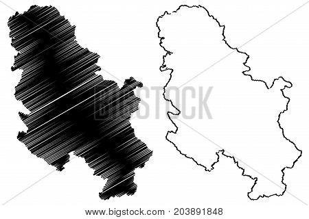 Serbia map vector illustration , scribble sketch Serbia