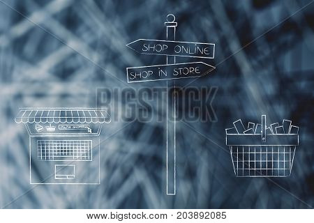 Buy In Store Or Online Road Sign With Laptop And Shopping Basket
