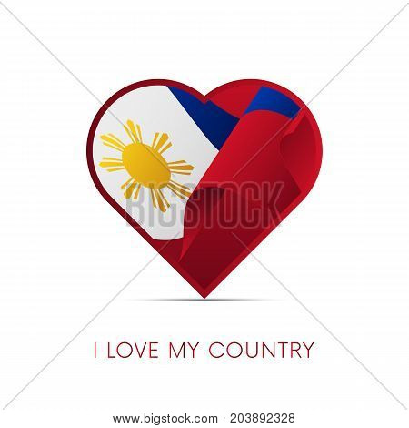 Philippines flag in heart. I love my country. sign. Vector illustration.