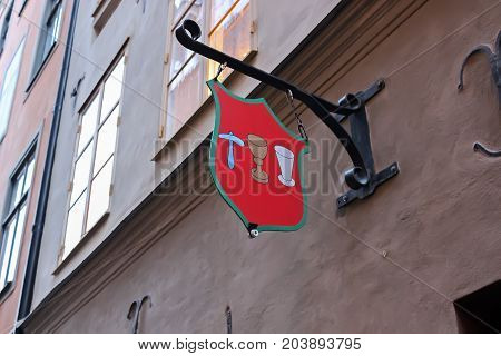 Stockholm Sweden - January 05th 2015: A sign above the tavern. The tavern in Stockholm.