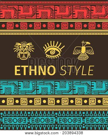 Ethno style vector banner with tribal boders and symbols