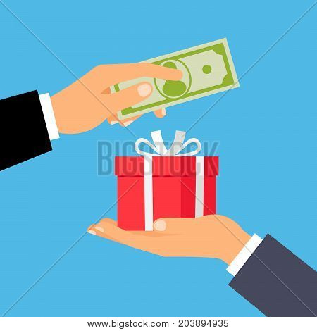 Hand giving US dollar banknote and present gift instead, vector illustration