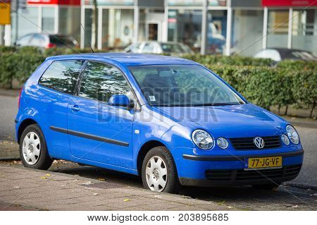 ROTTERDAM, THE NETHERLANDS - SEP 6, 2017: VW Polo car. The Volkswagen Polo is a supermini car produced by the German manufacturer Volkswagen since 1975.